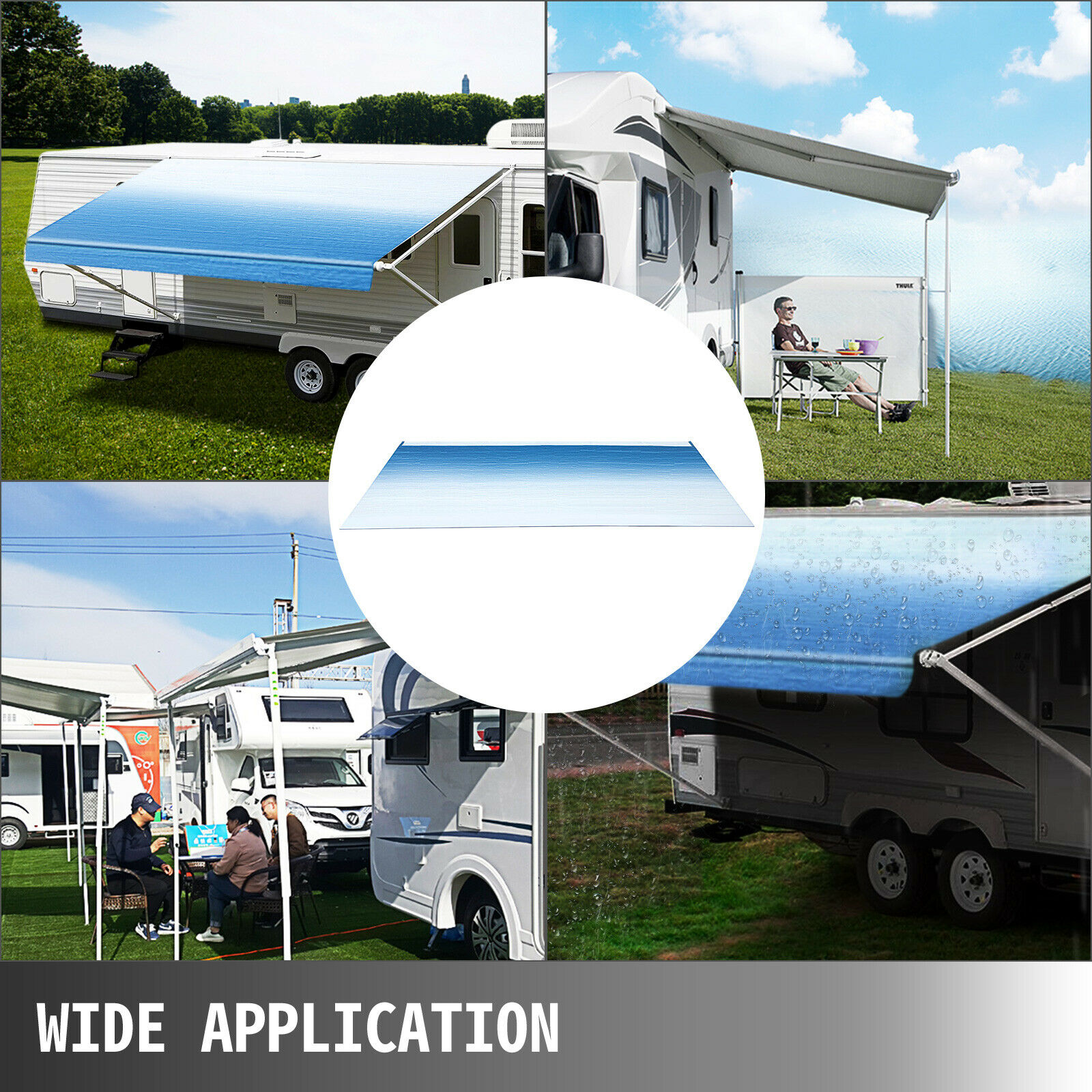Patio Awning Replacement Ocean Blue Fade Van Trailer Awning Canopy Patio Camping Car Awning SUV Durable 15oz Vinyl Roller Tube for RV VEVOR RV Awning 19 Camper Awning Fabric