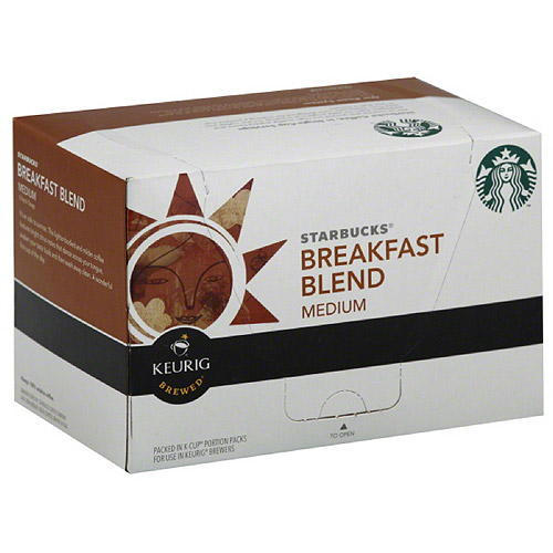 Starbucks Breakfast Blend Medium Keurig Brewed K-Cups Ground Coffee, 10 count, (Pack of 6)