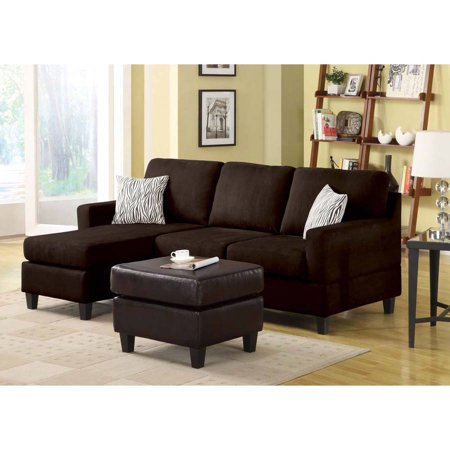 Vogue Microfiber Reversible Chaise Sectional Sofa, Multiple Colors
