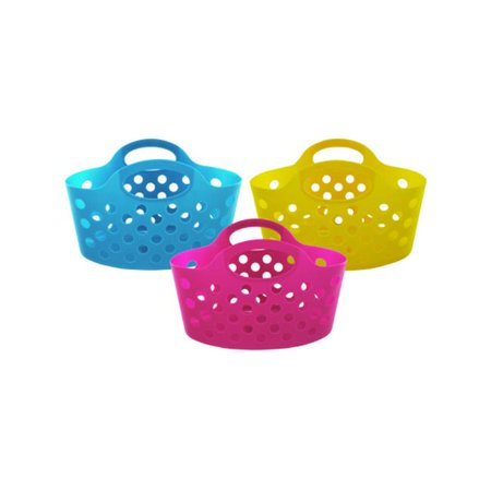 Bulk Buys UU366-36 Plastic Storage Basket With - Plastic Basket With Handle