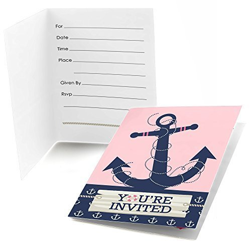 Ahoy - Nautical Girl - Fill In Baby Shower or Birthday Invitations (8 count)