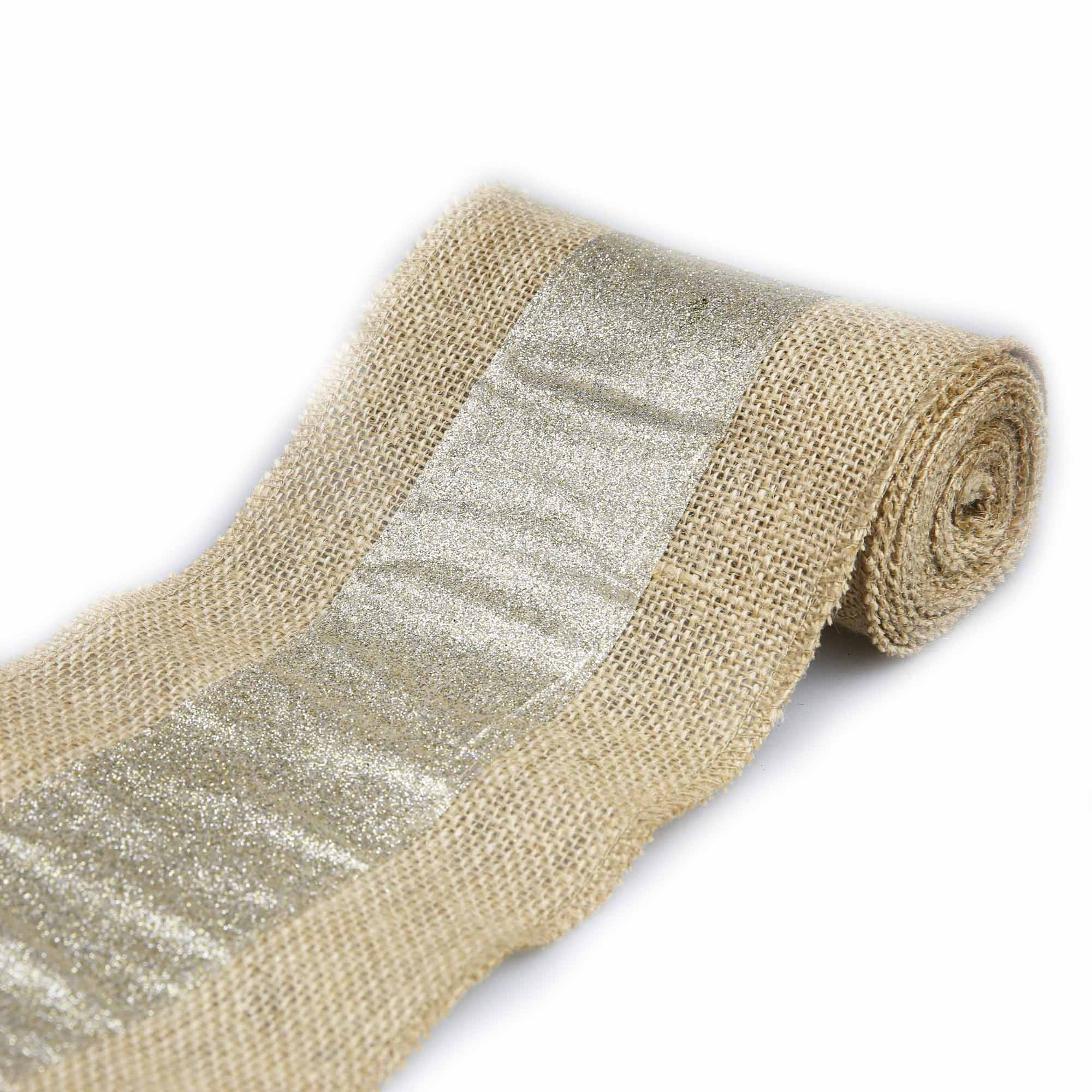 Natural Burlap with Gold Stripe, 1 Each