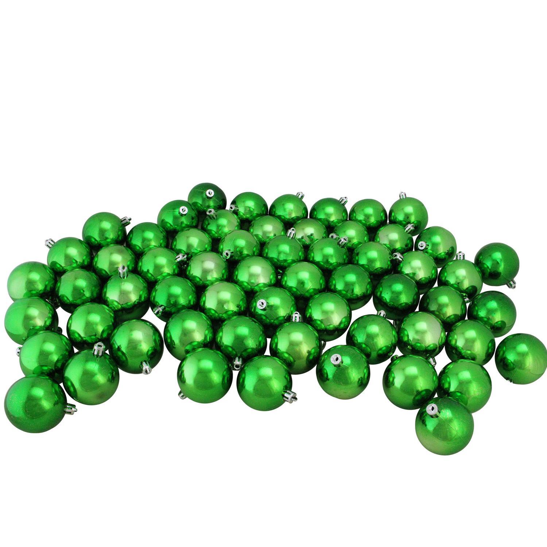"60ct Xmas Green Shatterproof Shiny Christmas Ball Ornaments 2.5"" (60mm)"