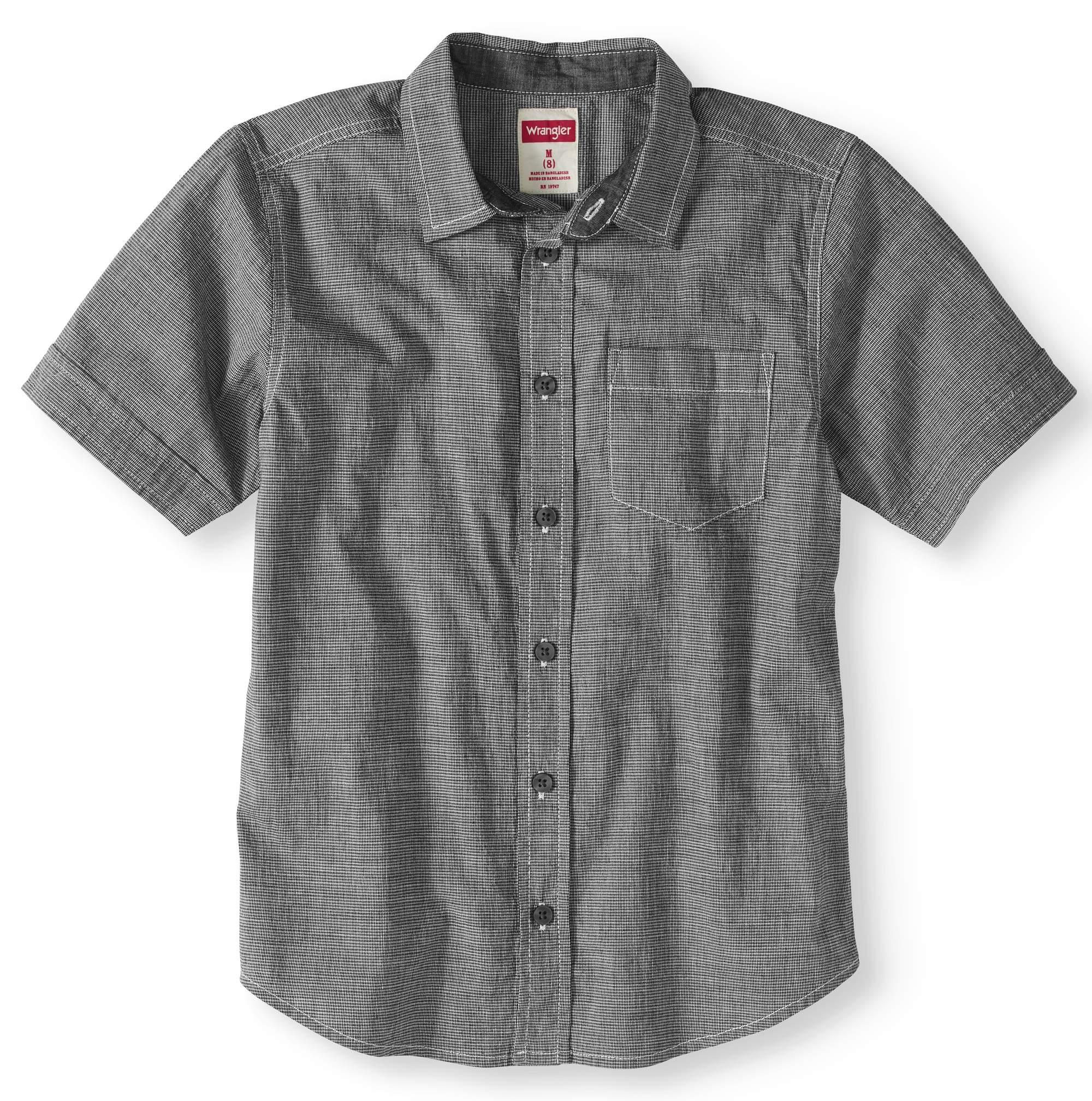 Boys Short Sleeve Plaid Button Up Top