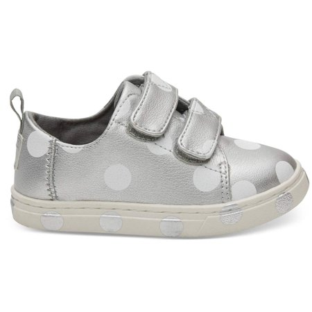 Freedom Synthetic Leather - Toms 10012555: Toddler's Lenny Silver Pearlized Synthetic Leather Dots Sneakers