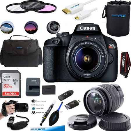 Canon EOS Rebel T100 Digital SLR Camera with 18-55mm Lens Kit +Deal-expo Essential Bundle