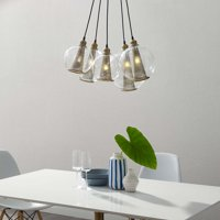 Peak Brass Cone And Glass Globe Cluster Pendant Light Chandelier in