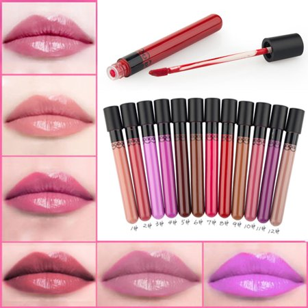 12 Colors Lipstick Waterproof Liquid Pencil Matte Lip Gloss Long Lasting Makeup