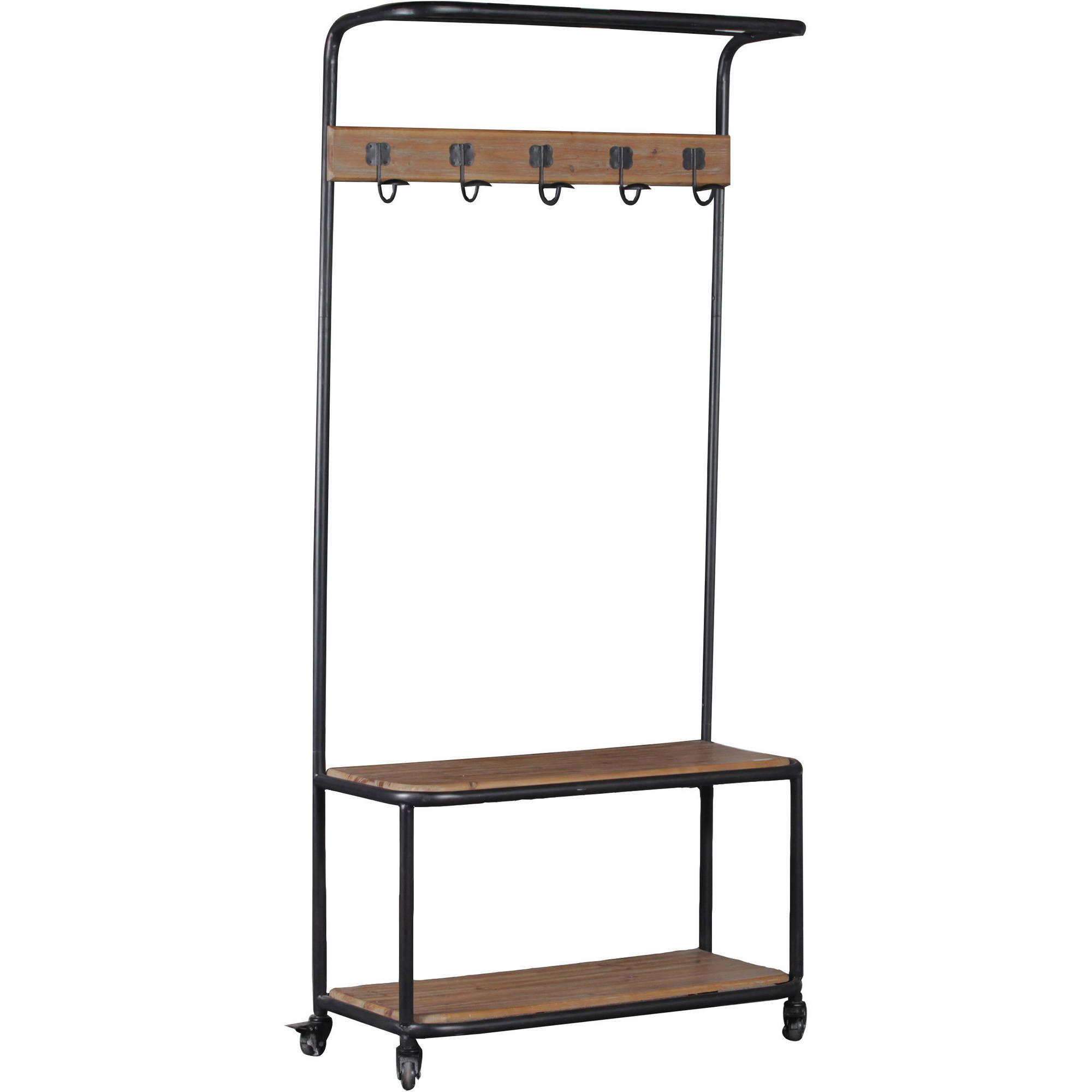 Linon Metal and Wood Hall Tree, 5 hooks, Top and Bottom shelf