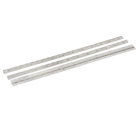 Uxcell 600mmx30mmx1mm Stainless Steel Screw Fixing Folding Continuous Hinges 3Pcs