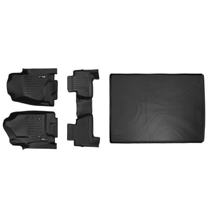 Maxliner 2015-2019 Chevrolet Suburban GMC Yukon XL Floor Mats 2 Row Set Maxtray Cargo Liner Behind 2nd Row Bench Seats Black A0136/B0221/D0159 - Gmc Yukon 2nd Row Bench