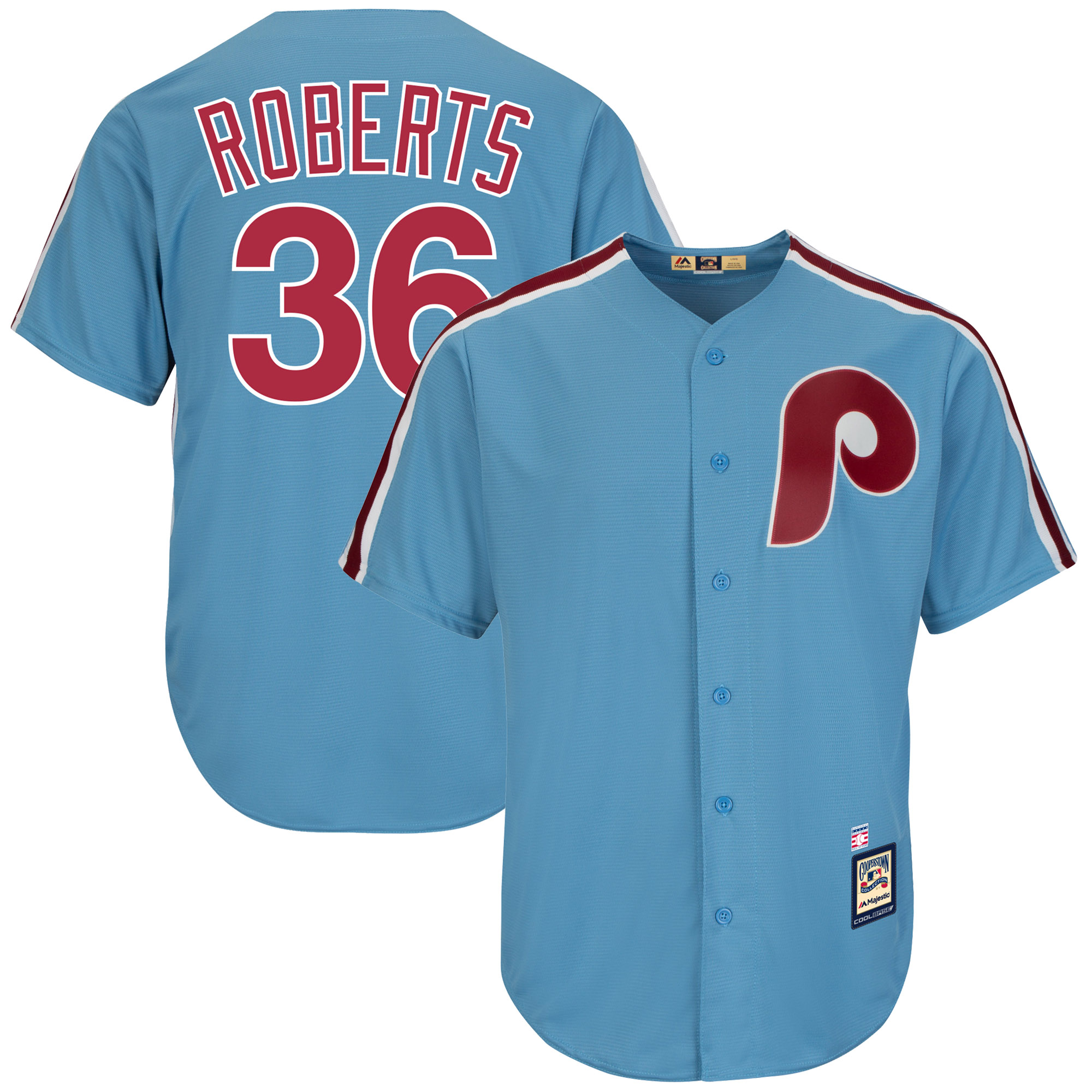 Robin Roberts Philadelphia Phillies Majestic Cooperstown Collection Cool Base Player Jersey - Light Blue