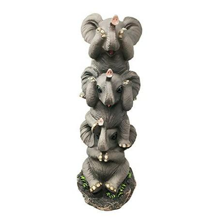 Pachyderm Friends Funny See Hear Speak No Evil Elephants Figurine Decor Sculpture Safari Elephant Lovers](Safari Decor Ideas)
