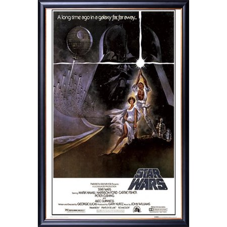 Gold Western Style Mounting - FRAMED Star Wars - A New Hope (Style A) 24x36 Poster Dry Mounted in Executive Series Black Wood Frame With Gold Lip - Crafted in USA