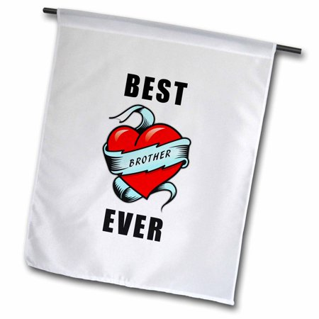 3dRose Best. Brother. Ever. Tattoo Heart Design - Garden Flag, 12 by
