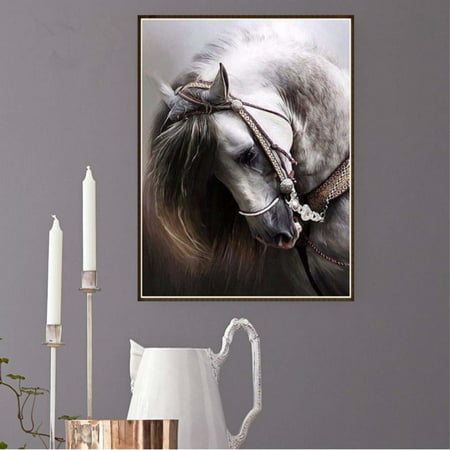 Diy Horse Rhinestone Diamond Painting Round Resin Crystal Embroidery Home Decorative Cross