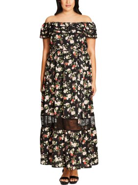 351d40b95f Product Image City Chic Womens Plus Floral Print Off-The-Shoulder Maxi Dress