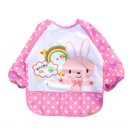 2Pack Unisex Infant Toddler Baby Waterproof Sleeved Bib Pocket Animals Pattern