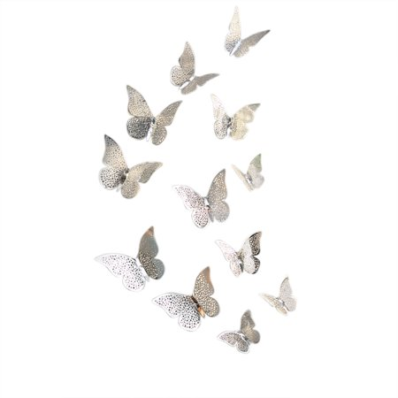 12PCS Creative 3D Hollow-out Butterfly Wall Sticker Elegant Metal Texture Mural Wall Decoration for TV Backdrop Wall Living Room Bedroom Gift Specification:B style silver Hollow Metal Door Specifications