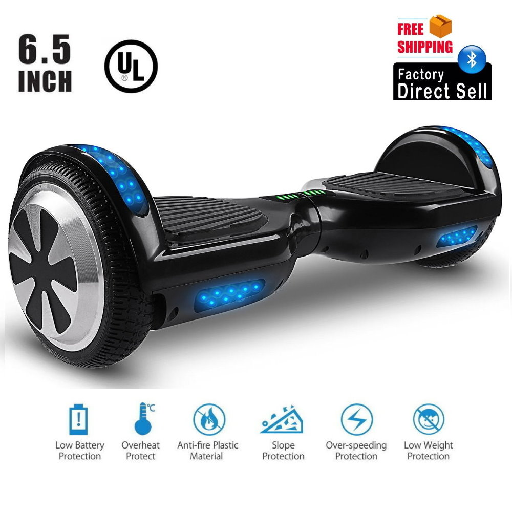 """Hoverboard UL2272 Certified LED  Bluetooth 6.5""""  Two Wheel Self Balancing Scooter (Black)"""