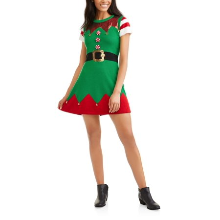 d918c6f84254 Holiday Time - Women's Ugly Christmas Sweater Dress - Walmart.com