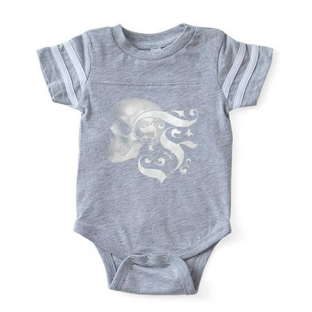 CafePress - Gothic Skull Initial F - Cute Infant Baby Football Bodysuit - Baby Gothic