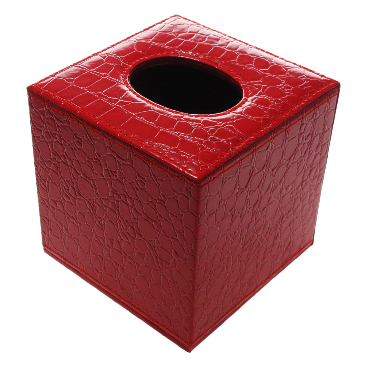 Decorative Red Gator Faux Leather Square Tissue Holder with  Magnetic Bottom Closure