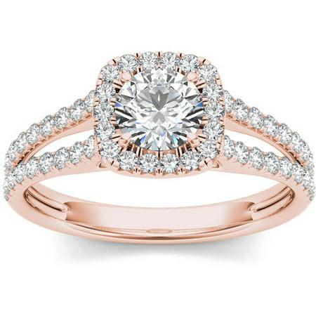 Imperial 1 Carat T W  Diamond Split Shank Single Halo 14Kt Rose Gold Engagement Ring
