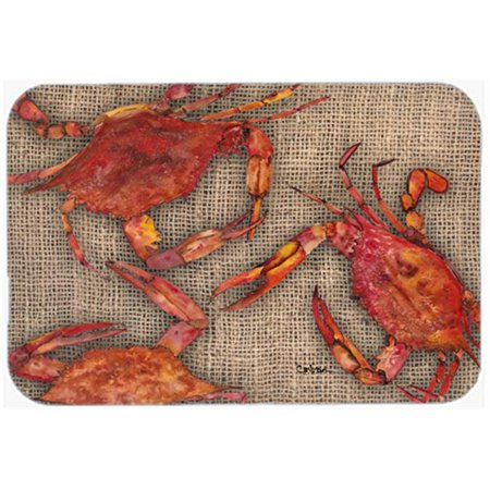 Carolines Treasures 8742JCMT 24 x 36 In. Cooked Crabs on Faux Burlap Kitchen or Bath Mat - image 1 of 1