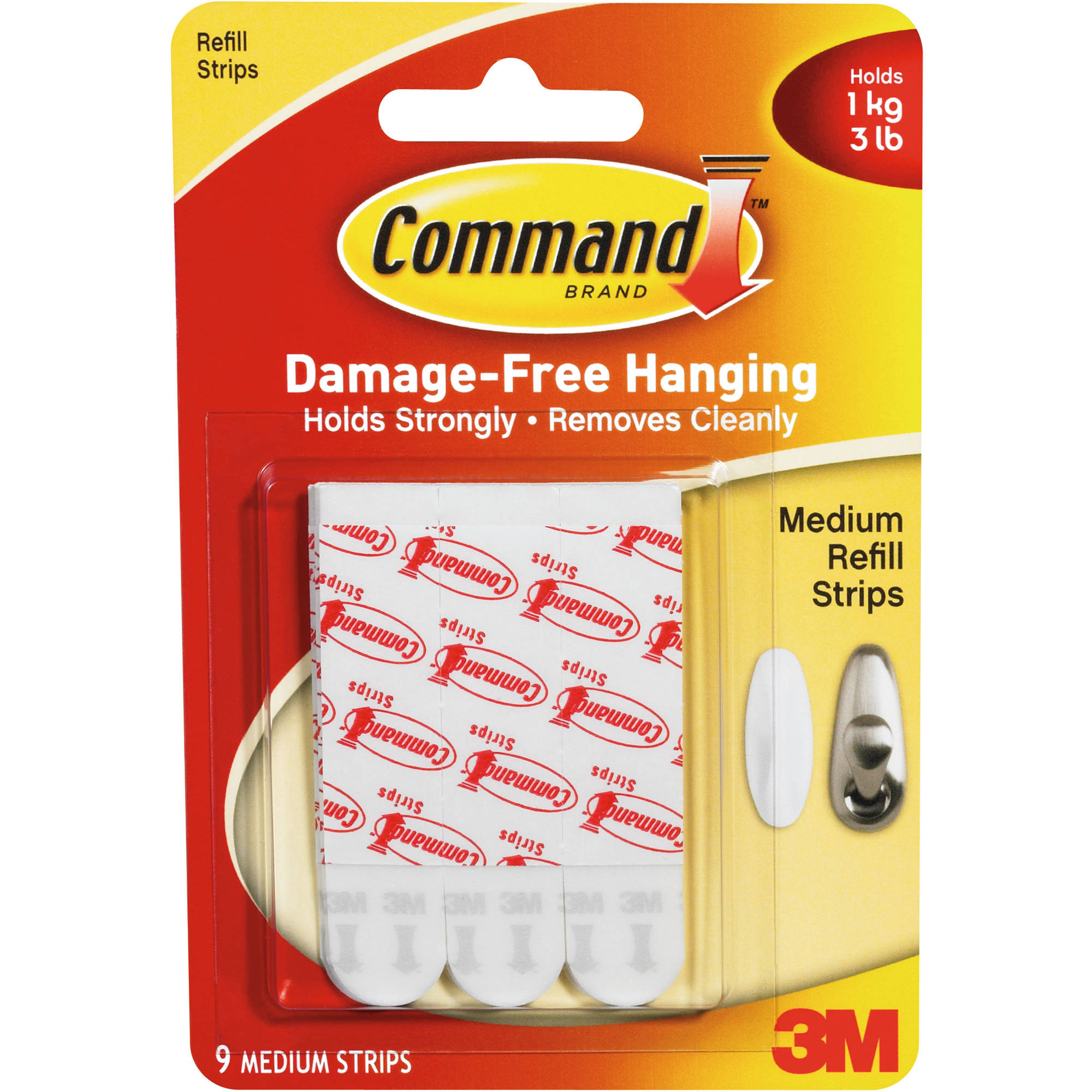 Command Replacement Mounting Strips, White, Medium, Holds 3 pound, 9/Pk, 17021