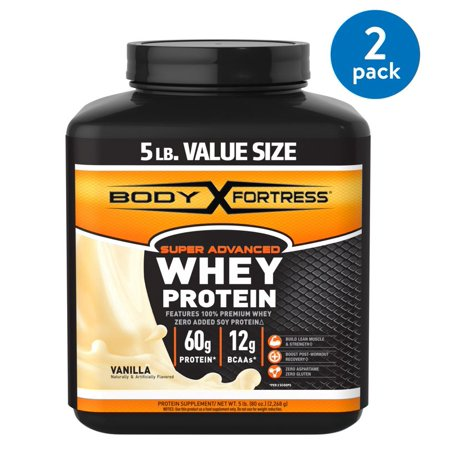 (2 Pack) Body Fortress Super Advanced Whey Protein Powder, Vanilla, 60g Protein, 5 Lb