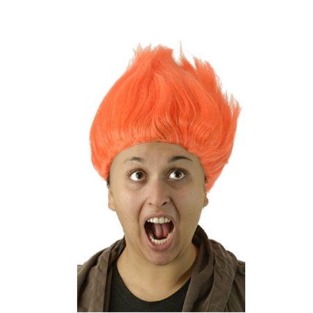 Orange Adult Troll Wig Gnome Clown Doll Costume Sports Team Fun Dr Seuss 90s