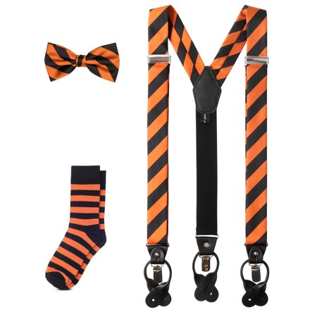 Jacob Alexander Matching College Stripe Suspenders Dress Socks and Bow Tie