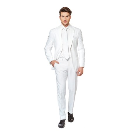 OppoSuits Men's White Knight Solid Suit - Oppo Suit