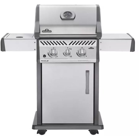 """Napoleon R365SIBN Rogue 37000 BTU 49"""" Wide Three Burner Natural Gas Free Standing Grill with Sizzle Zone Side Burner"""