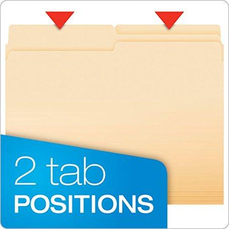 Pendaflex Essentials File Folders Letter Size 1/2 Cut Manila 100 per Box (752 (Cut Film)