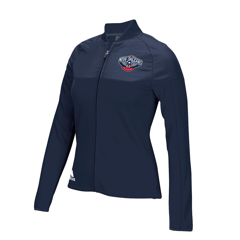 New Orleans Pelicans NBA Adidas Navy Blue 2016 On-Court Long Sleeve Track Jacket For Women by Adidas