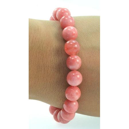 Fashion Jewelry high quality color enhanced Serpentine gemstone stretch bracelet - PINK- men women