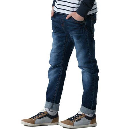 Leo&Lily Big boys' Kids' Husky Rib Waist Stretch Denim Jeans Pants (Navy, 10) (Shoes To Wear With Light Blue Jeans)