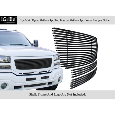 APS Compatible with 2003-2006 GMC Sierra 1500 2500 3500 & 07 Classic Stainless Steel Black 8x6 Horizontal Billet Grille Insert Combo (Cut Out Aps Classic Billet)