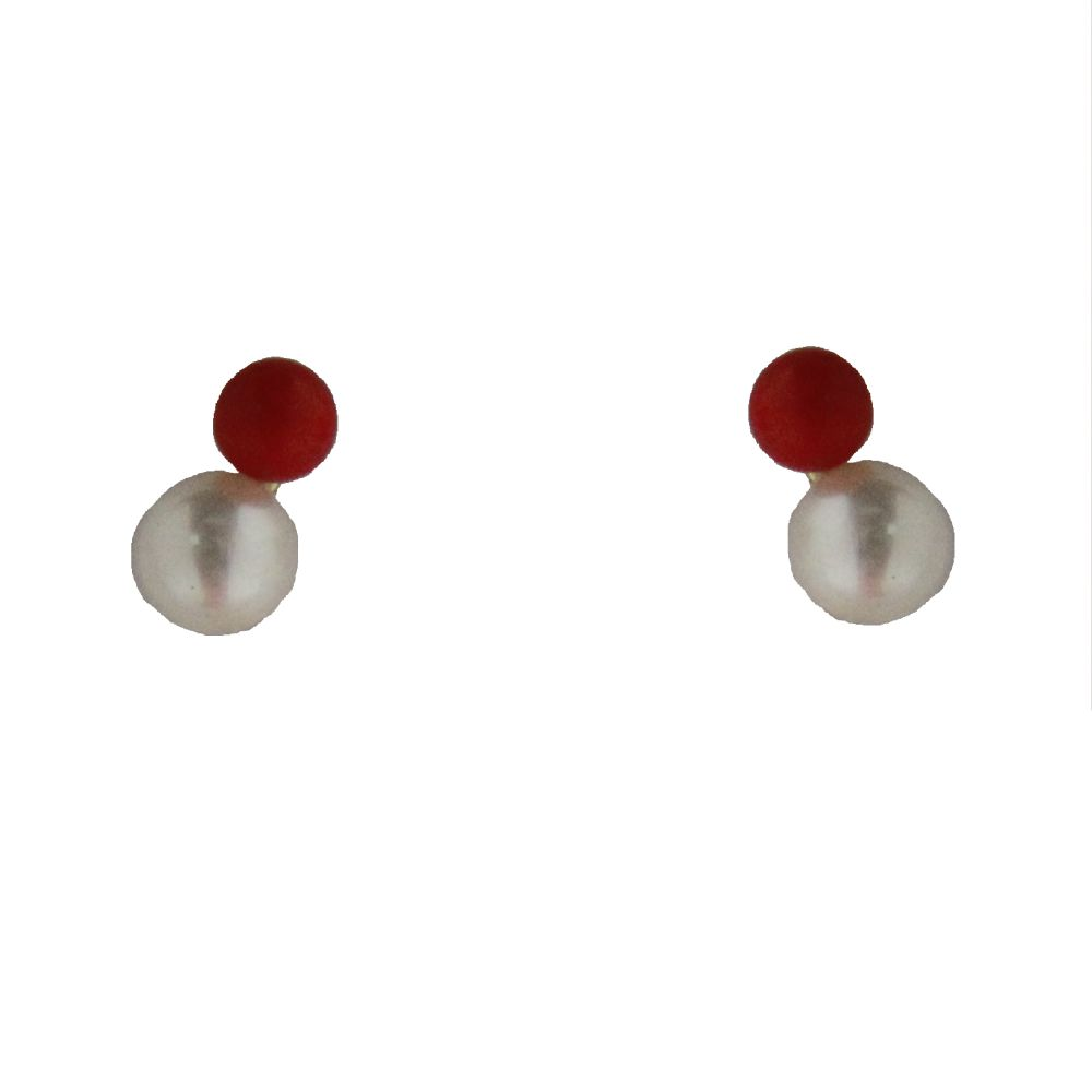 18k coral paste bead and cultivate pearl screwback earrings 4mm pearl 3mm coral by