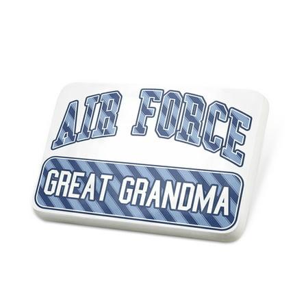 Porcelein Pin Air Force Great Grandma, Blue stripes Lapel Badge – - Grandma To Be Pin