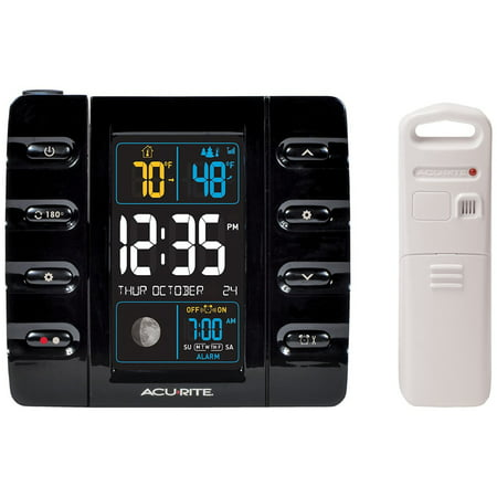 Intelli-Time Projection Clock with Outdoor Temperature and USB Charger Outdoor Tile Clock