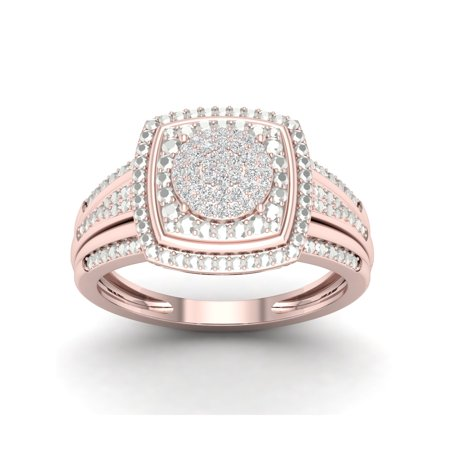 1/10Ct TDW Diamond 10k Rose Gold Cluster Double Halo Engagement (Double Rose Rings)