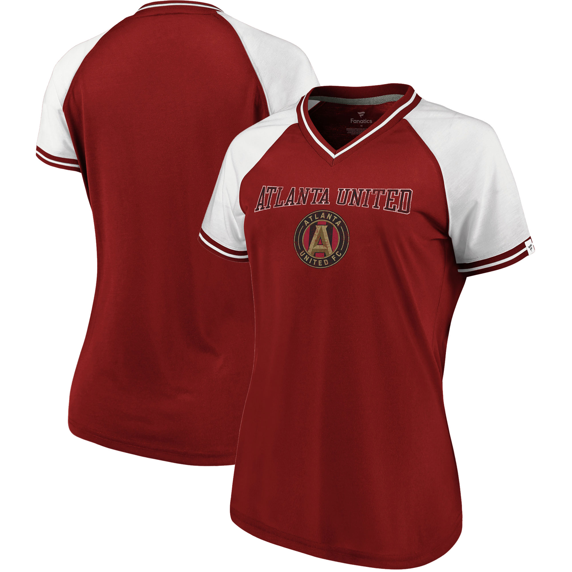 size 40 32045 39a35 Atlanta United FC Fanatics Branded Women's V-Neck T-Shirt ...