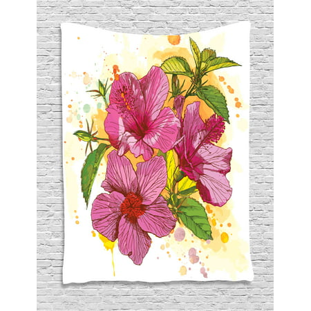 Floral Tapestry, Vibrant Hibiscus Flower Bouquet Exotic Elegance Watercolor Art, Wall Hanging for Bedroom Living Room Dorm Decor, 60W X 80L Inches, Fuchsia Green Earth Yellow White, by Ambesonne ()