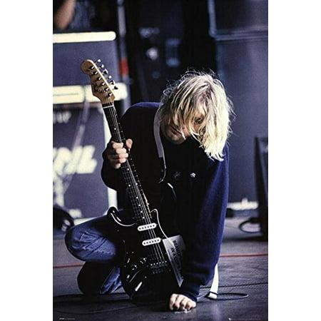 Buyartforless Nirvana - Kurt Cobain Kneeling On Stage 36x24 Music Art Print Poster In