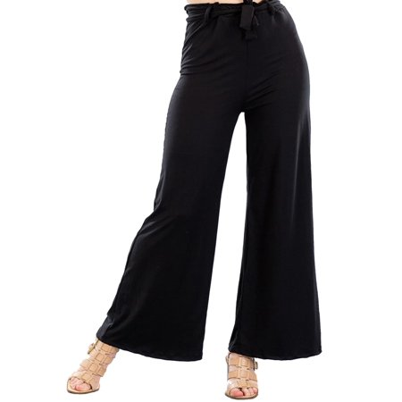 MOA COLLECTION Women's Solid Basic Casual Comfy Stretch Loose Fit Tie Belt Knit Wide Leg -