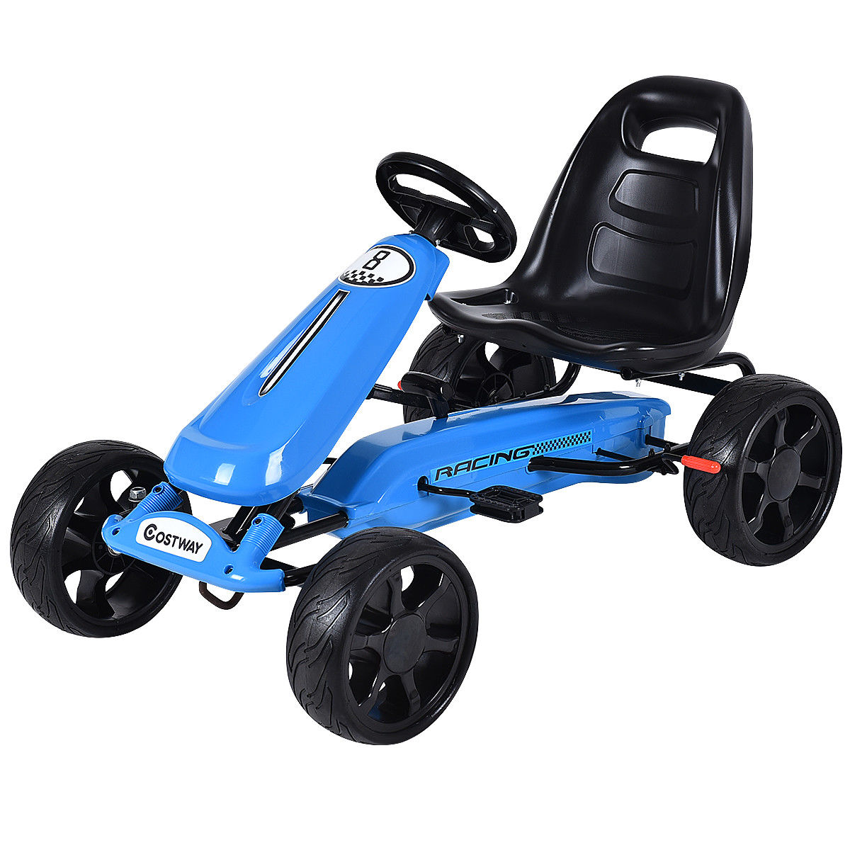 Click here to buy Costway Xmas Gift Go Kart Kids Ride On Car Pedal Powered Car 4 Wheel Racer Toy Stealth Outdoor by Costway.