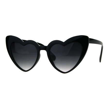 Oversize Heart Shape Cat Eye Retro Womens Plastic Sunglasses Black